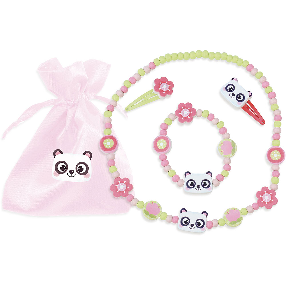Vilac Dřevěný set náhrdelníku, náramku a sponek panda