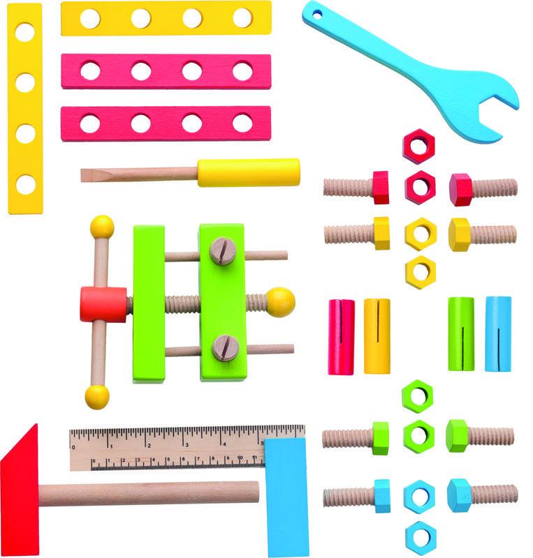 Dřevěné hračky Woody - Montážní autobus s nářadím