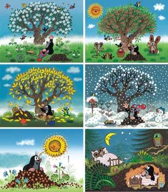 Dřevěné obrázkové kostky - Kubus Kubus 12 Krtkův rok
