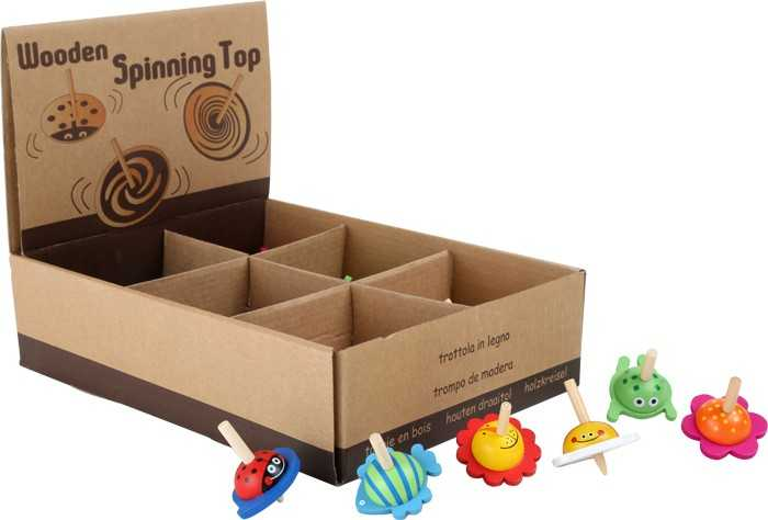 Dřevěné hry - Dřevěná káča zvířátka - Displej 36 kusů