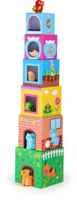Small Foot Věž z kostek s dřevěnými zvířátky