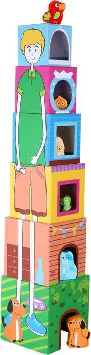 Small Foot Veža z kociek s drevenými zvieratkami