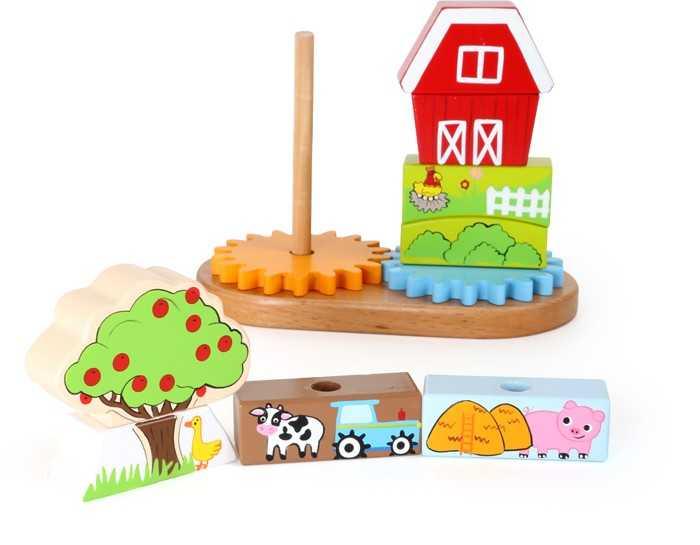 Dřevěná motorická hra - Nasazování na tyč farma