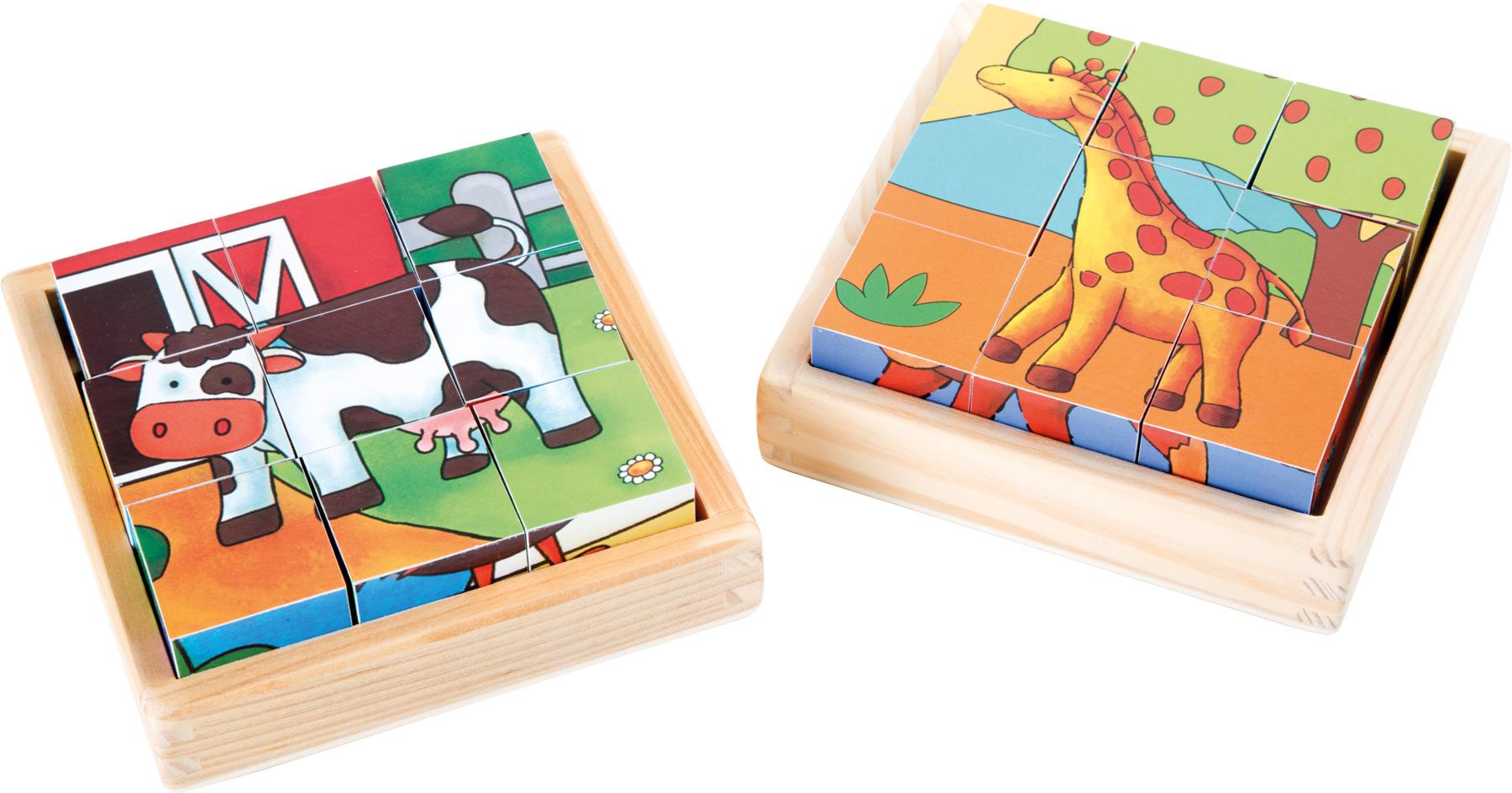 Dřevěné obrázkové kostky - Farma a ZOO