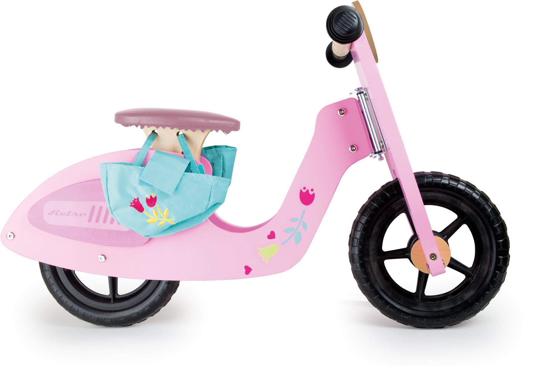 Dřevěné odrážedlo růžová motorka