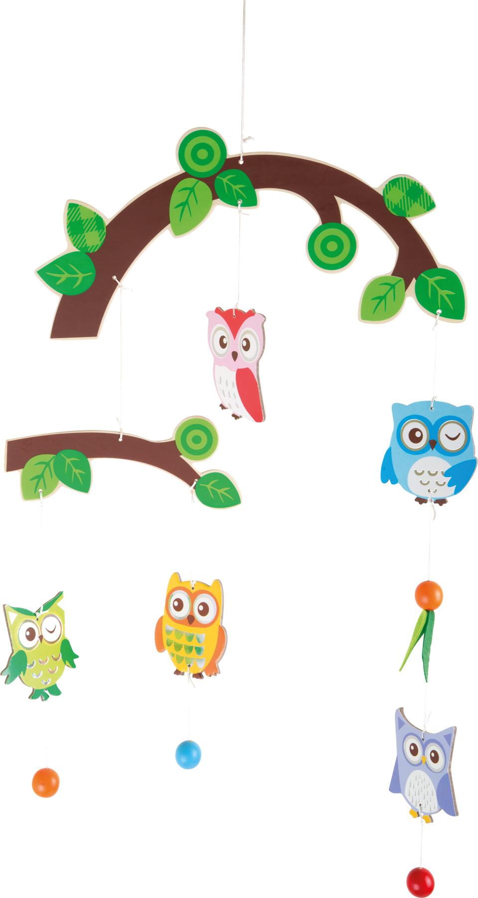 Dřevěné hračky pro nejmenší - Závěsný kolotoč Sovičky
