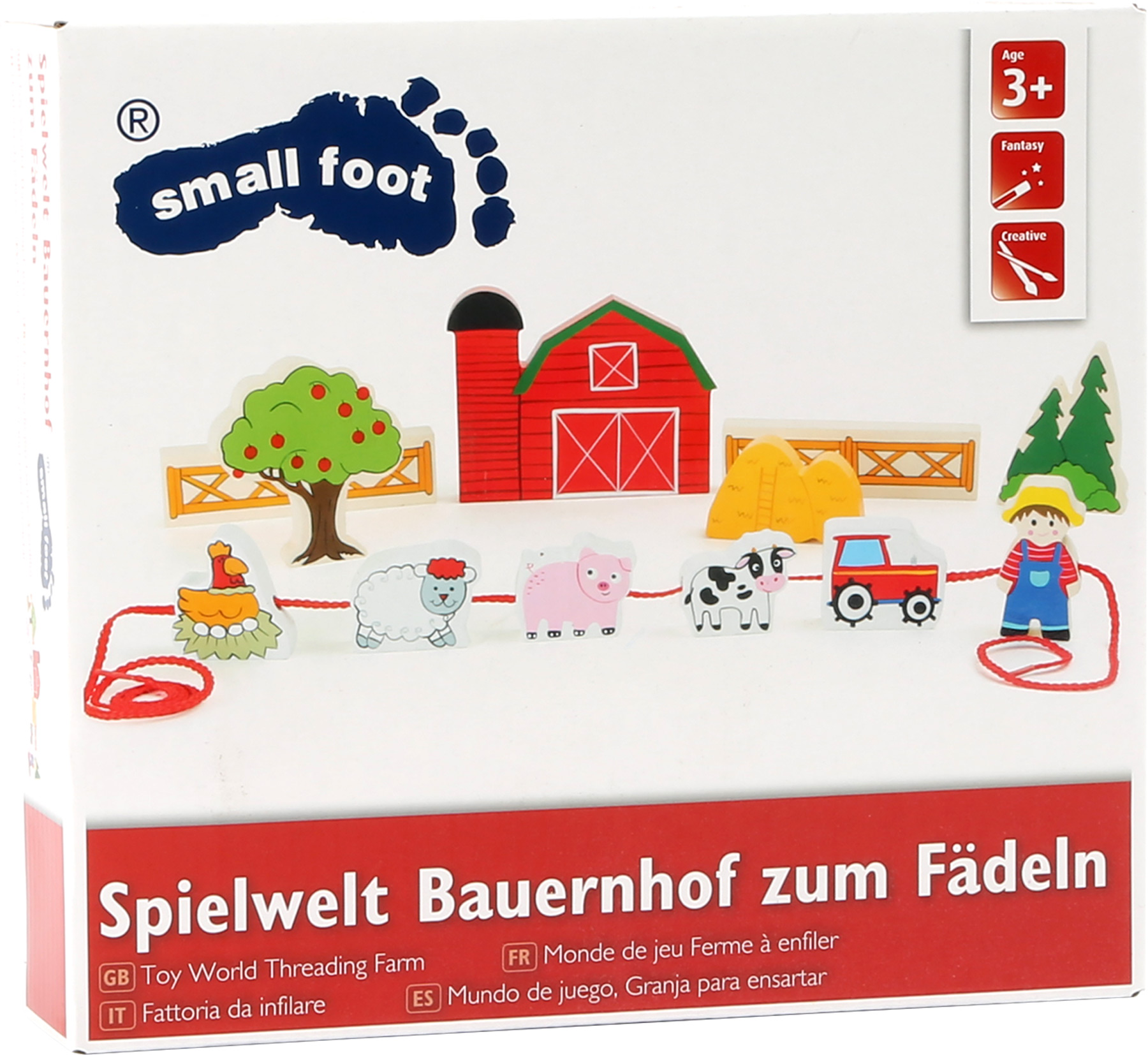 Small Foot Drevená navliekacia sada Farma