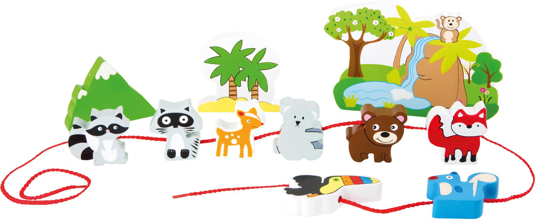 Small Foot Dřevěné navlékací hrací set safari
