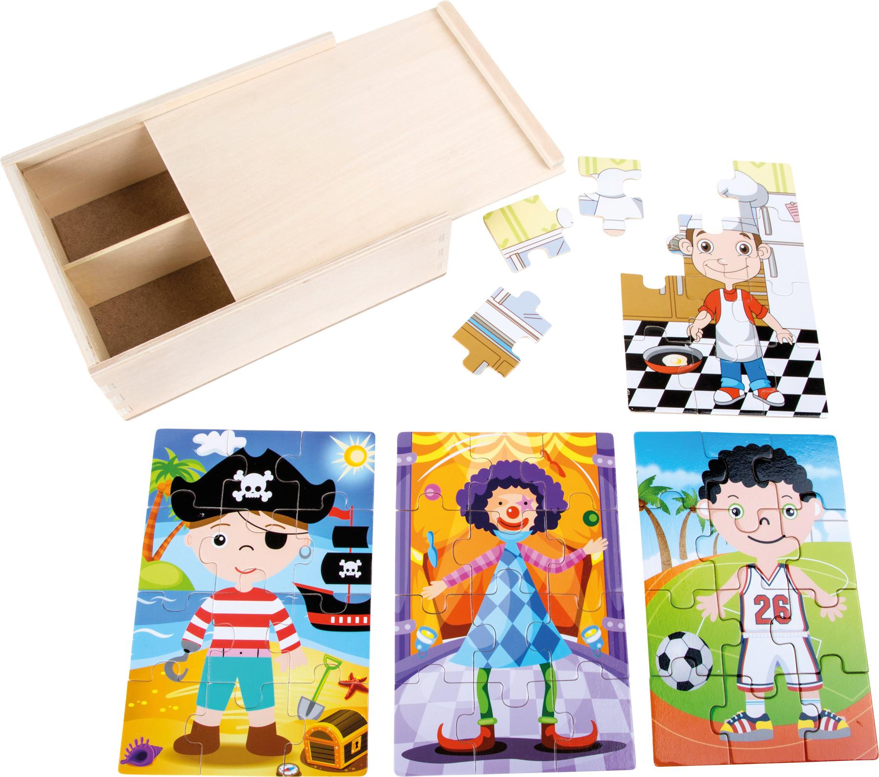 Small Foot Dřevěné puzzle 4v1 v boxu pro kluky