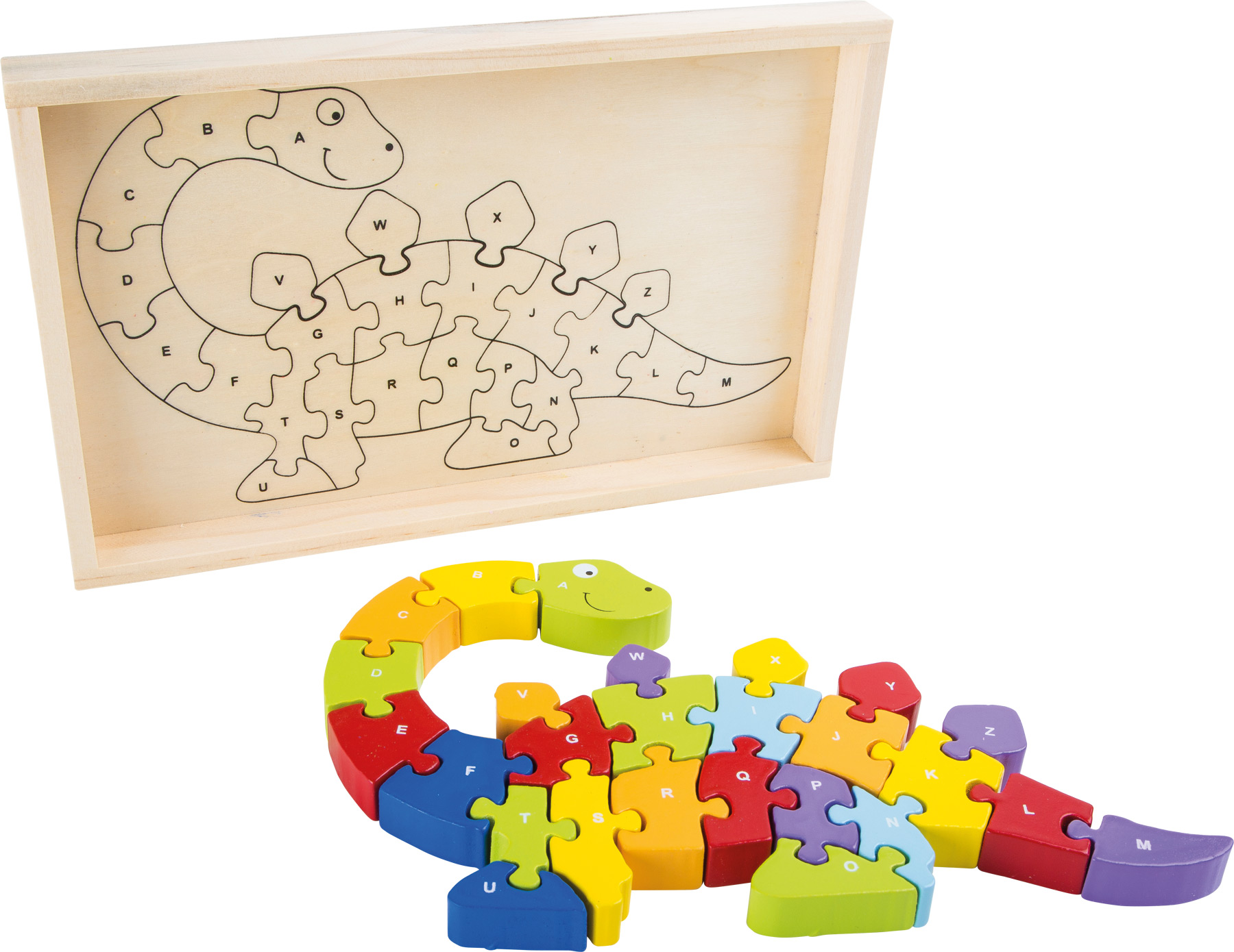 Small Foot Dřevěné puzzle ABC dinosaurus