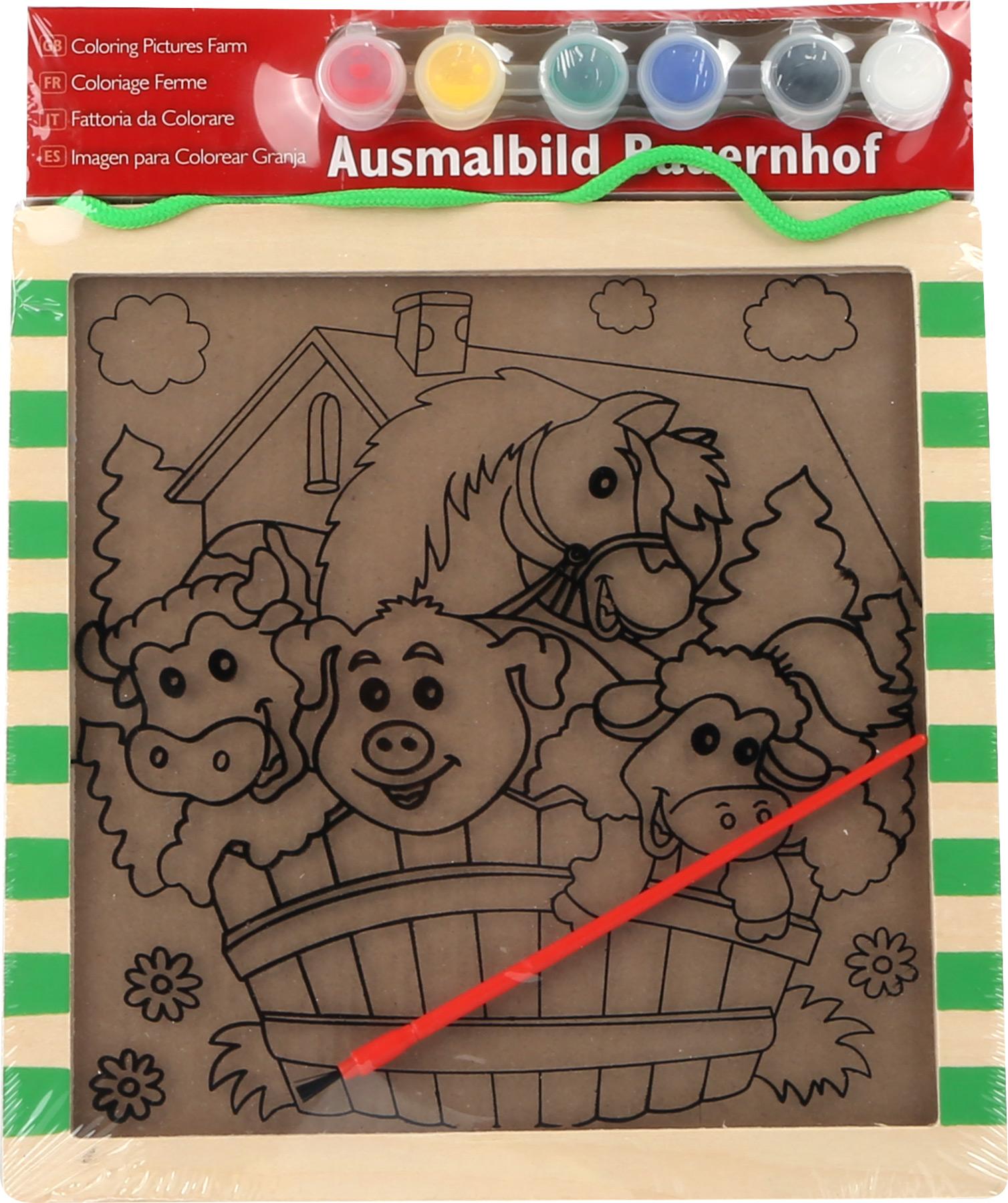 Dřevěný barevný obrázek - Farma se zvířátky