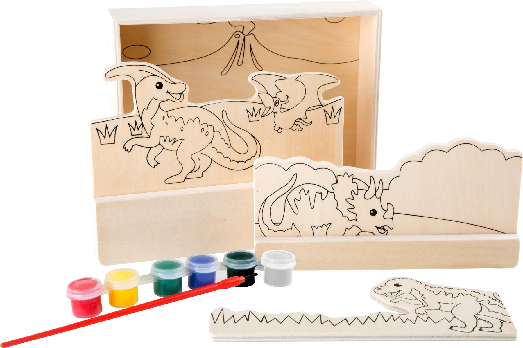 Dřevěný barevný 3D obrázek - Dinosauři