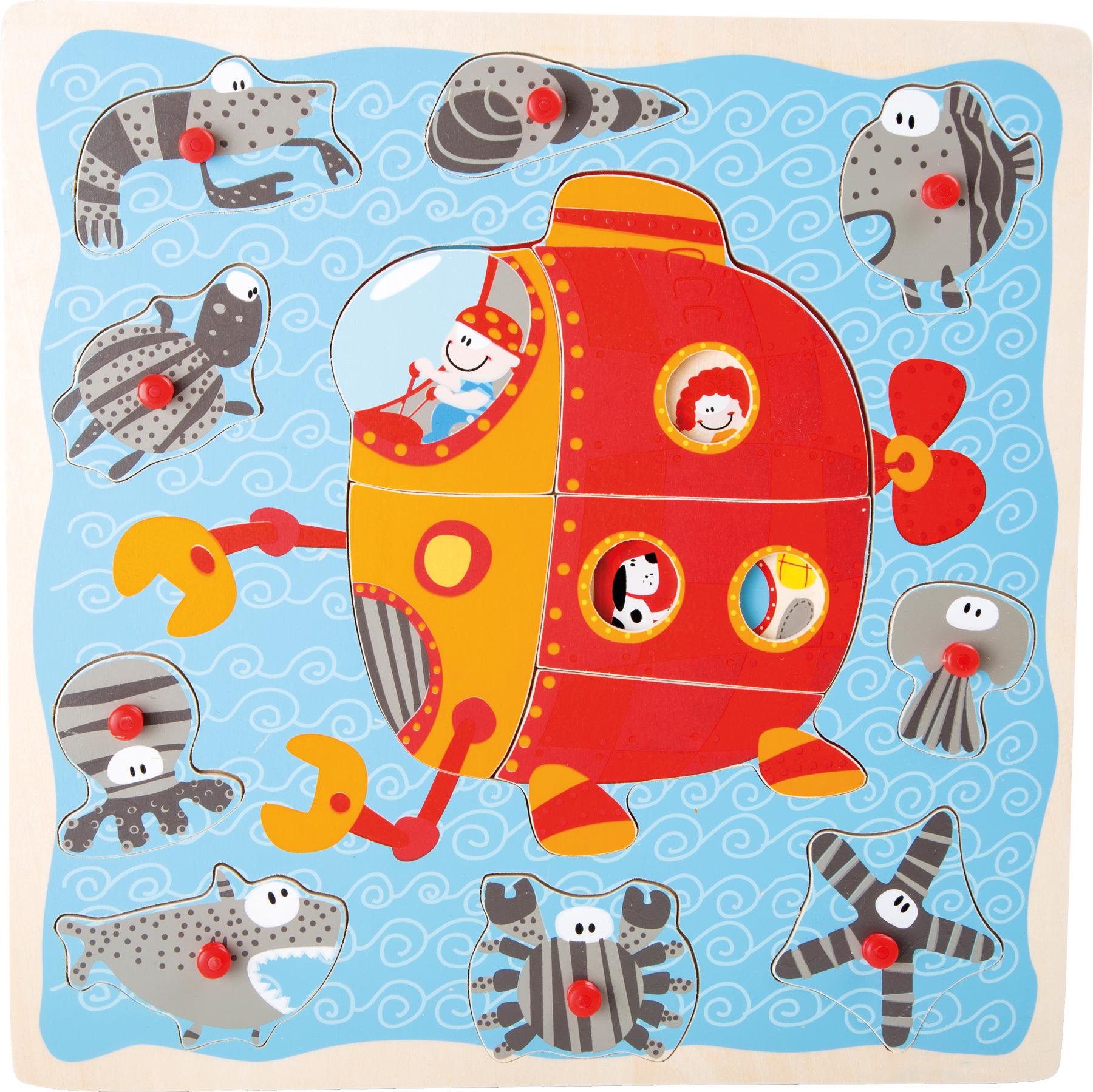 Small Foot Dřevěné vkládací puzzle ponorka