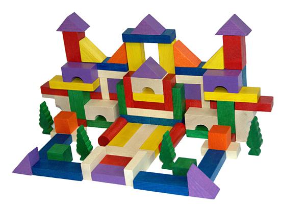 EkoToys Dřevěné kostky barevné 100 ks