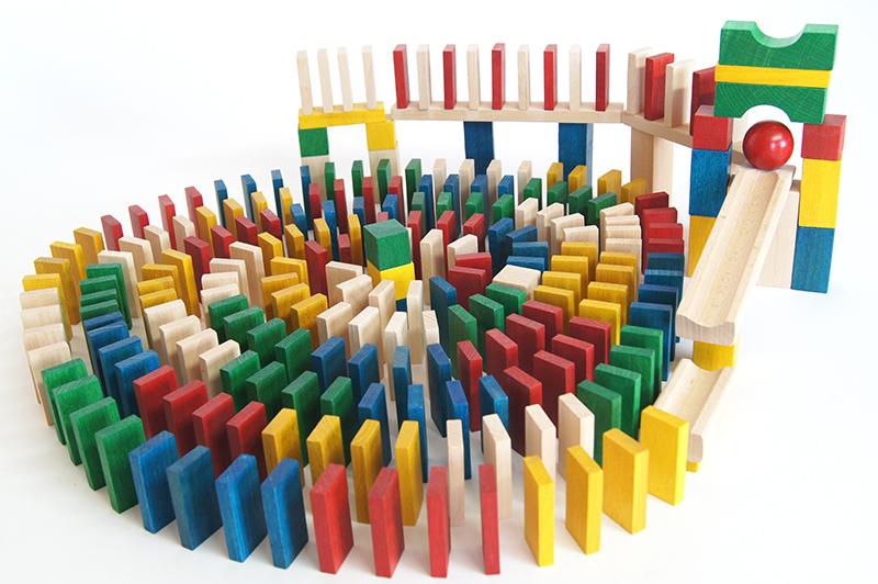 EkoToys Dřevěné domino barevné 430 ks