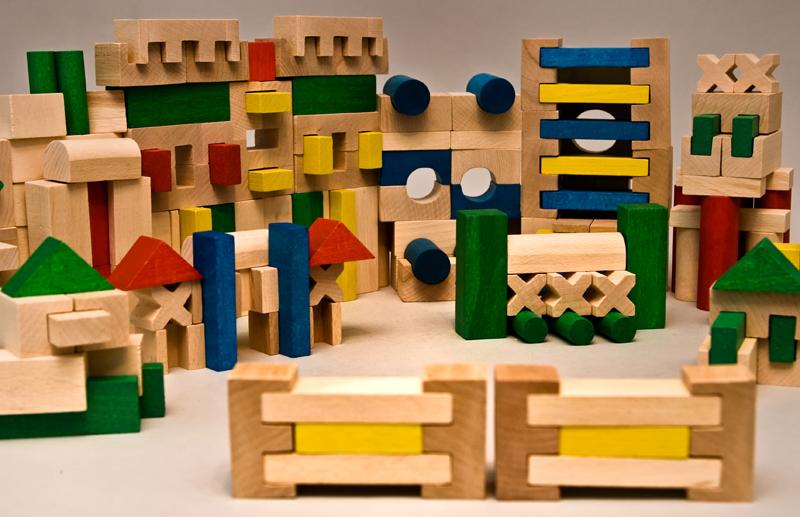 EkoToys Dřevěné kostky barevné 210 ks