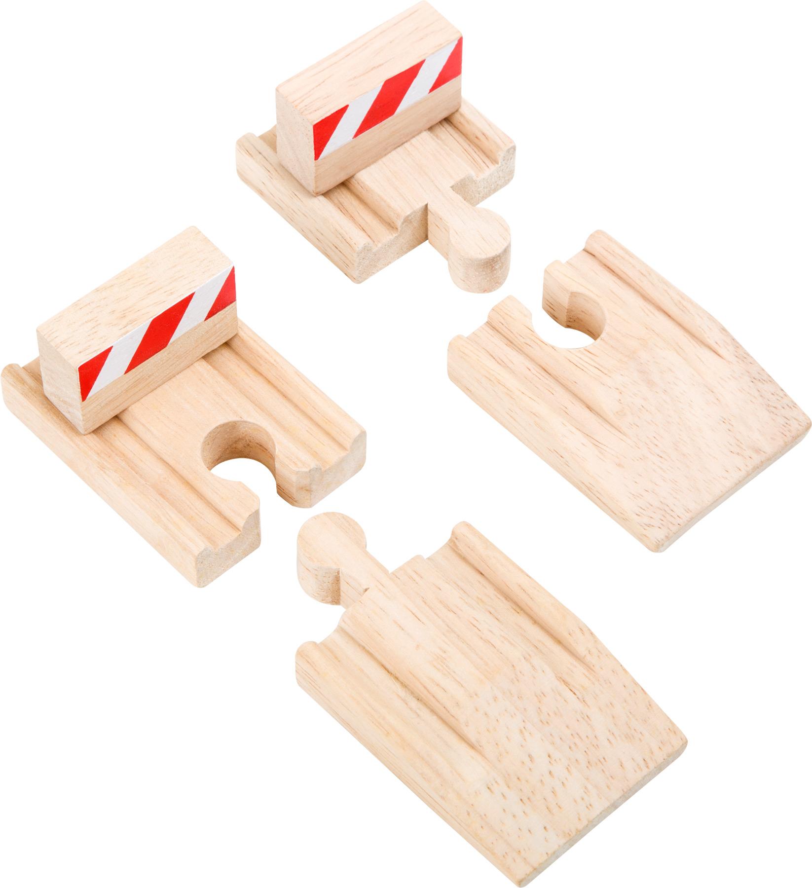 Dřevěné hračky - vláčkodráha - Rampy a stavidla 4ks