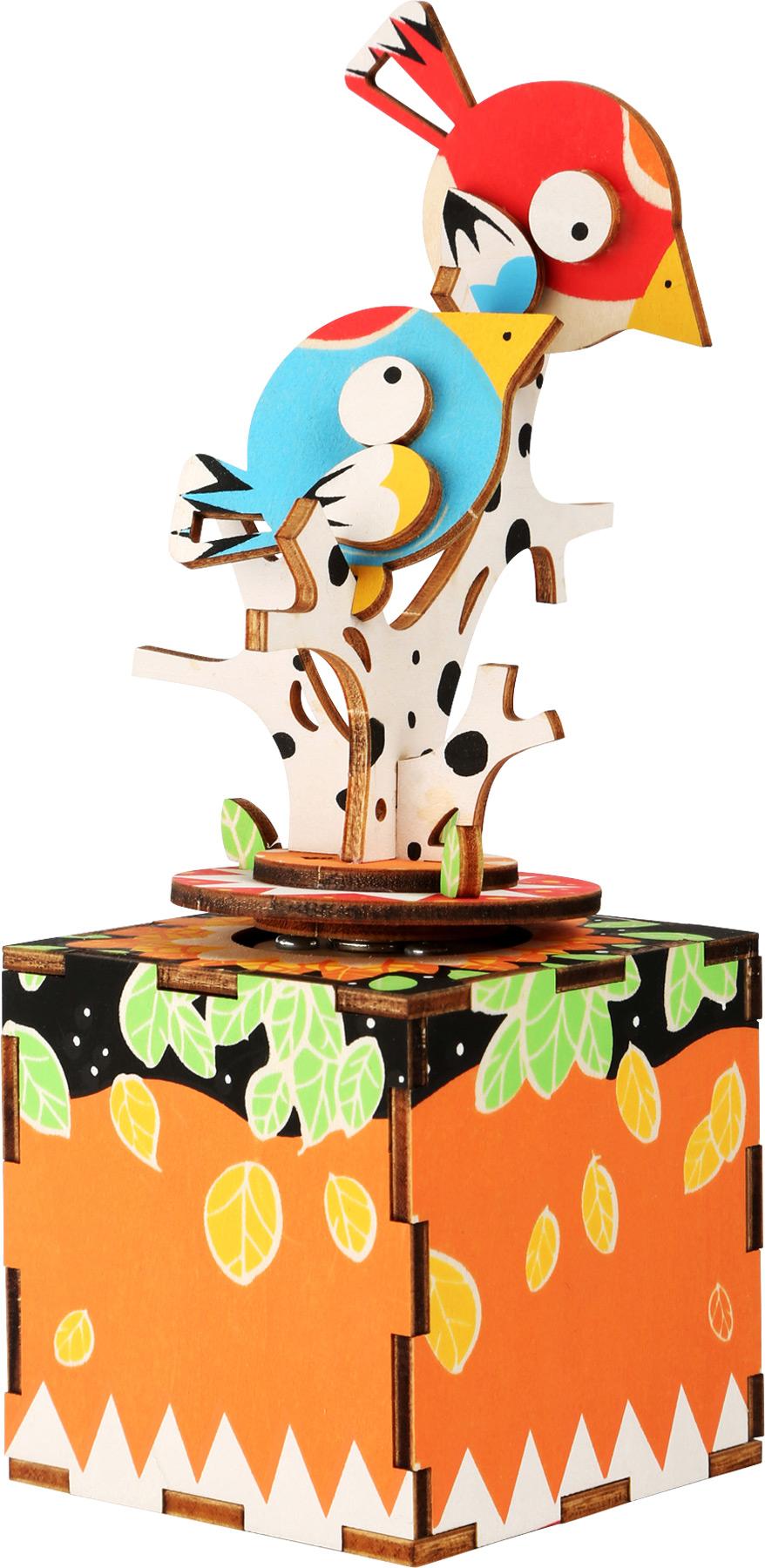Dřevěná stavebnice muzikální dekorace - Ptáčci