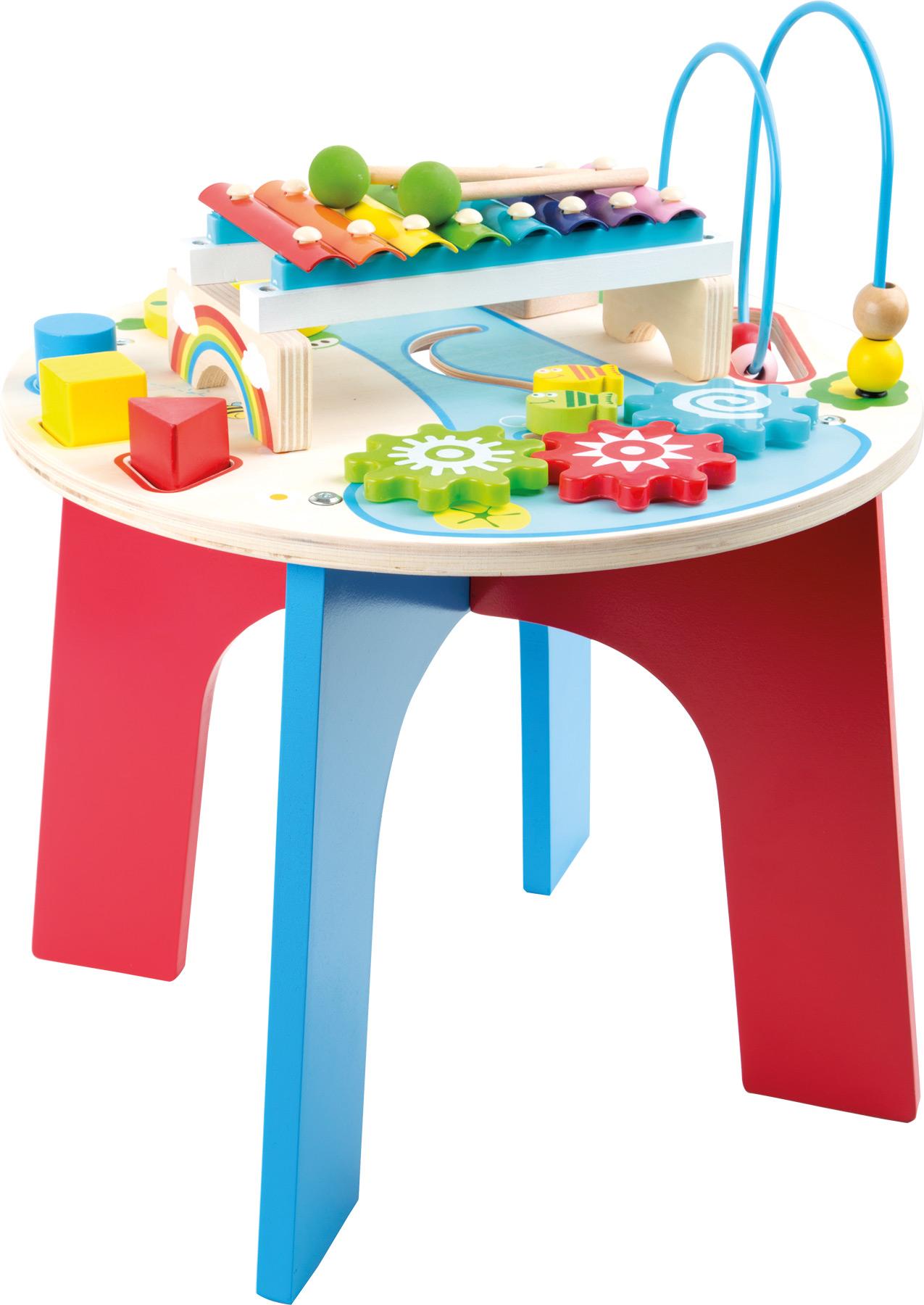 Dřevěný motorický muzikální stůl 2v1