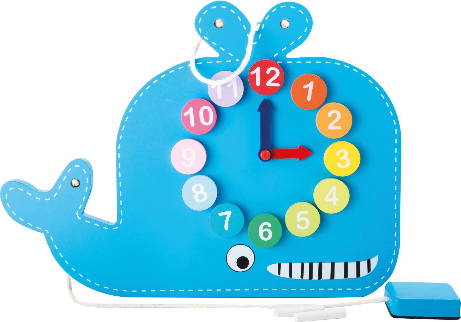 Small Foot Didaktivní tabule s hodinami velryba
