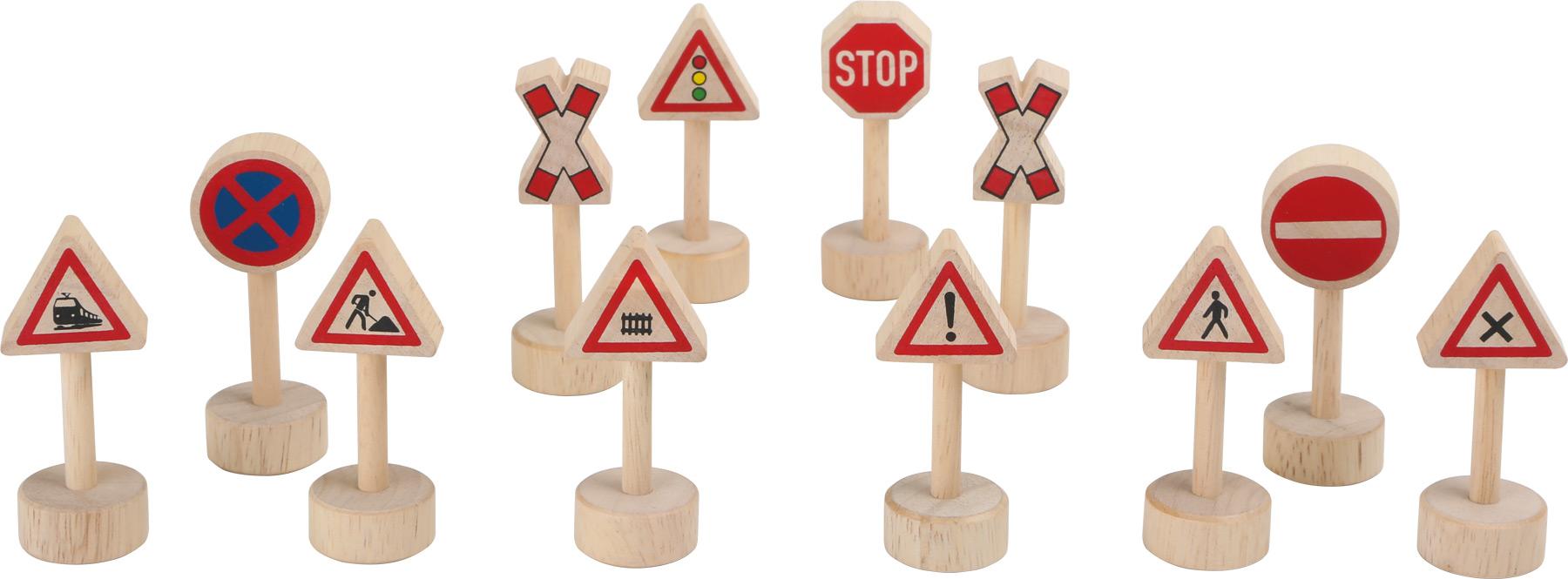 Small Foot Dřevěné dopravní značky k vláčkodráze 12ks