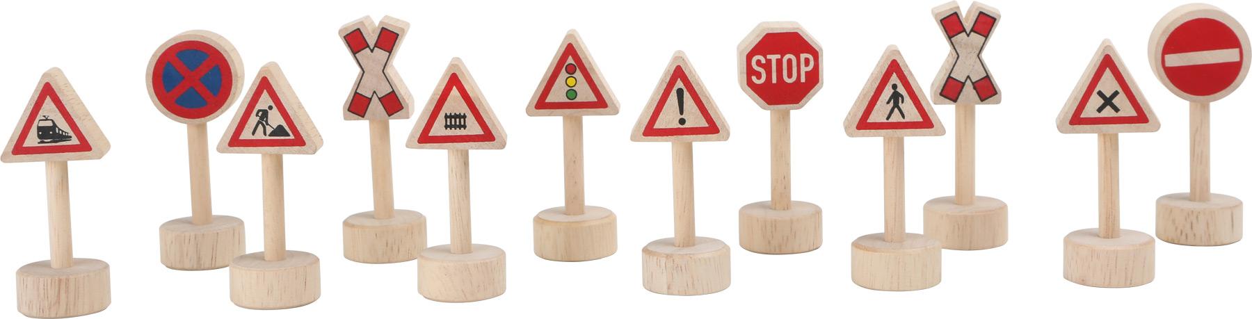 Dřevěné dopravní značky k vláčkodráze 12ks