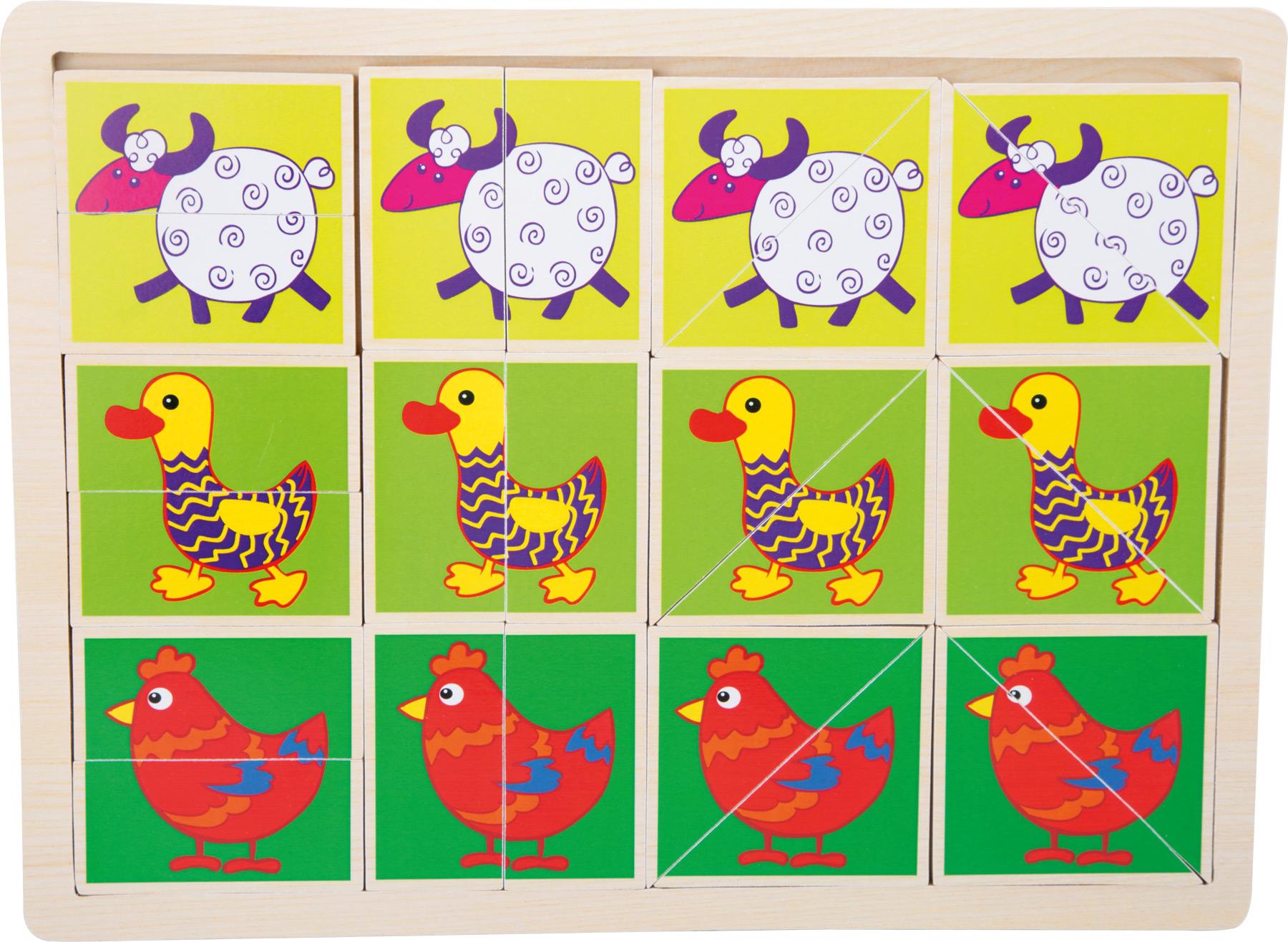 Small Foot Dřevěvé puzzle veselá zvířátka