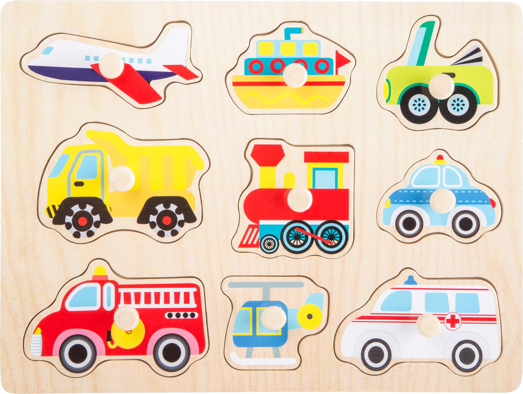 Dřevěná vkládačka - Vkládací puzzle - Vozidla