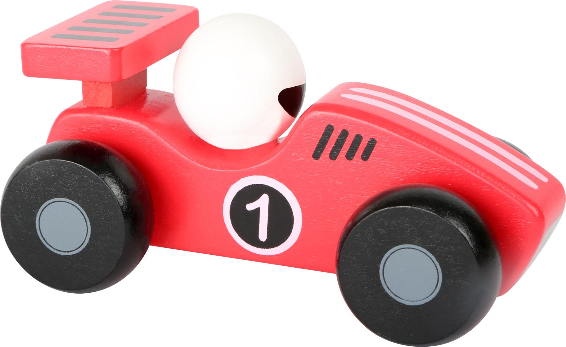 Dřevěné závodní autíčko - 1 ks červené