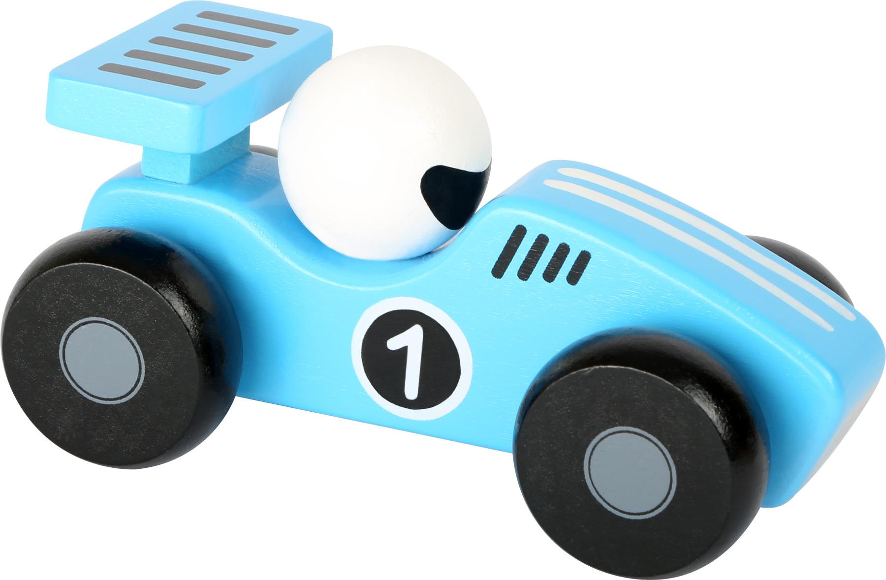 Dřevěné závodní autíčko - 1 ks modré