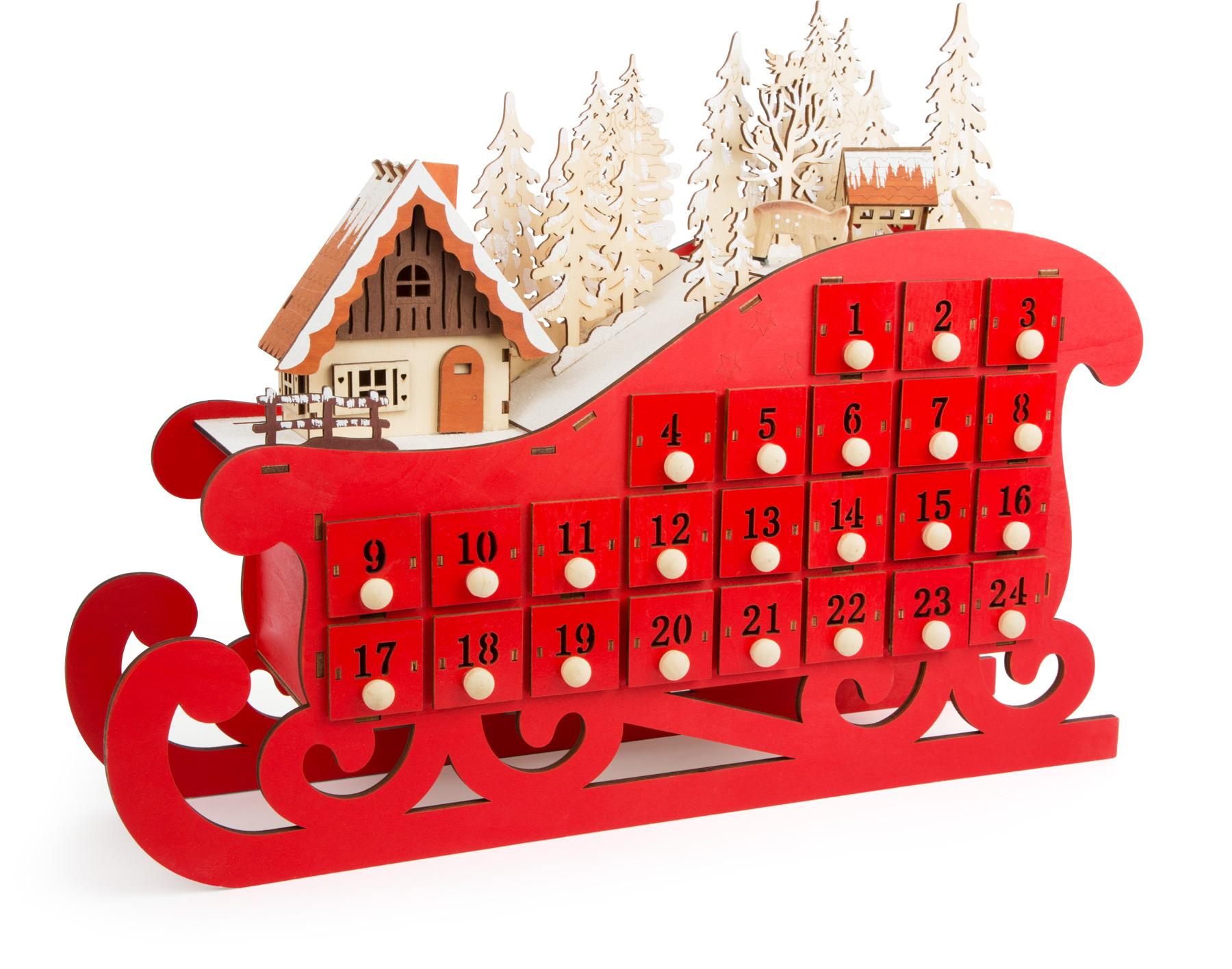 Small Foot Dřevěný adventní kalendář sáňky