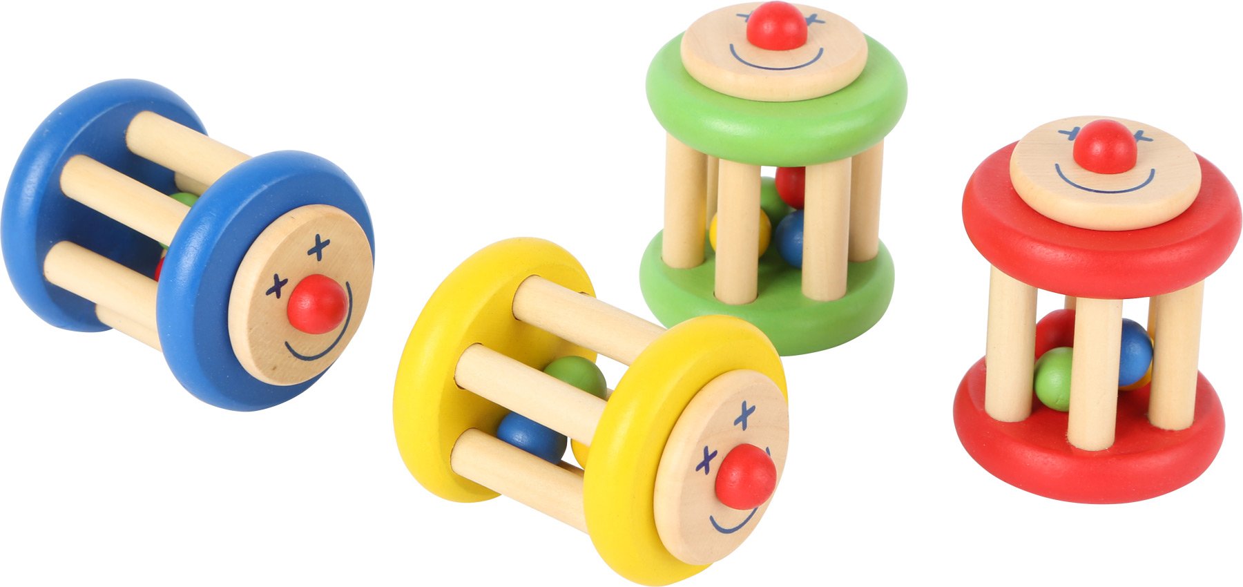Displej- Dřevěné chrastítko -  Klaun 1 ks žlutá