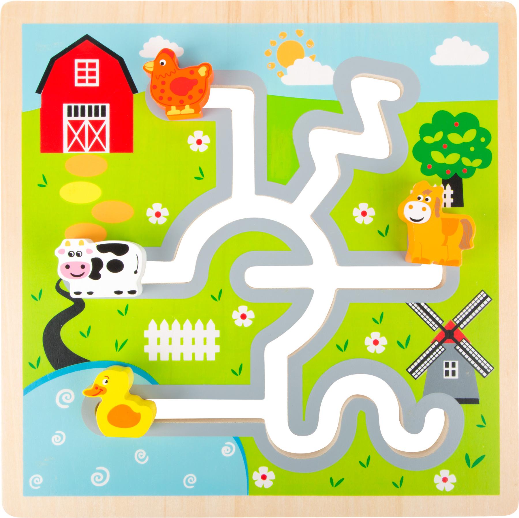 Small Foot Dřevěné posuvné puzzle Farma