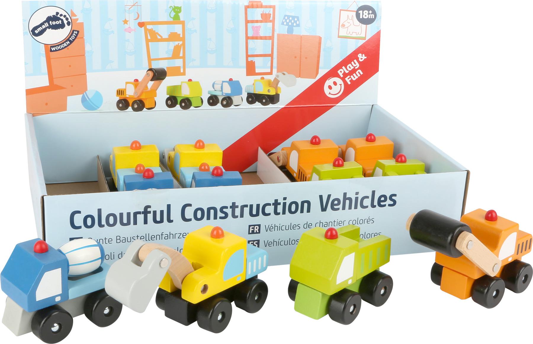 Small Foot Displej dřevěná autíčka Stavební stroje 12 ks
