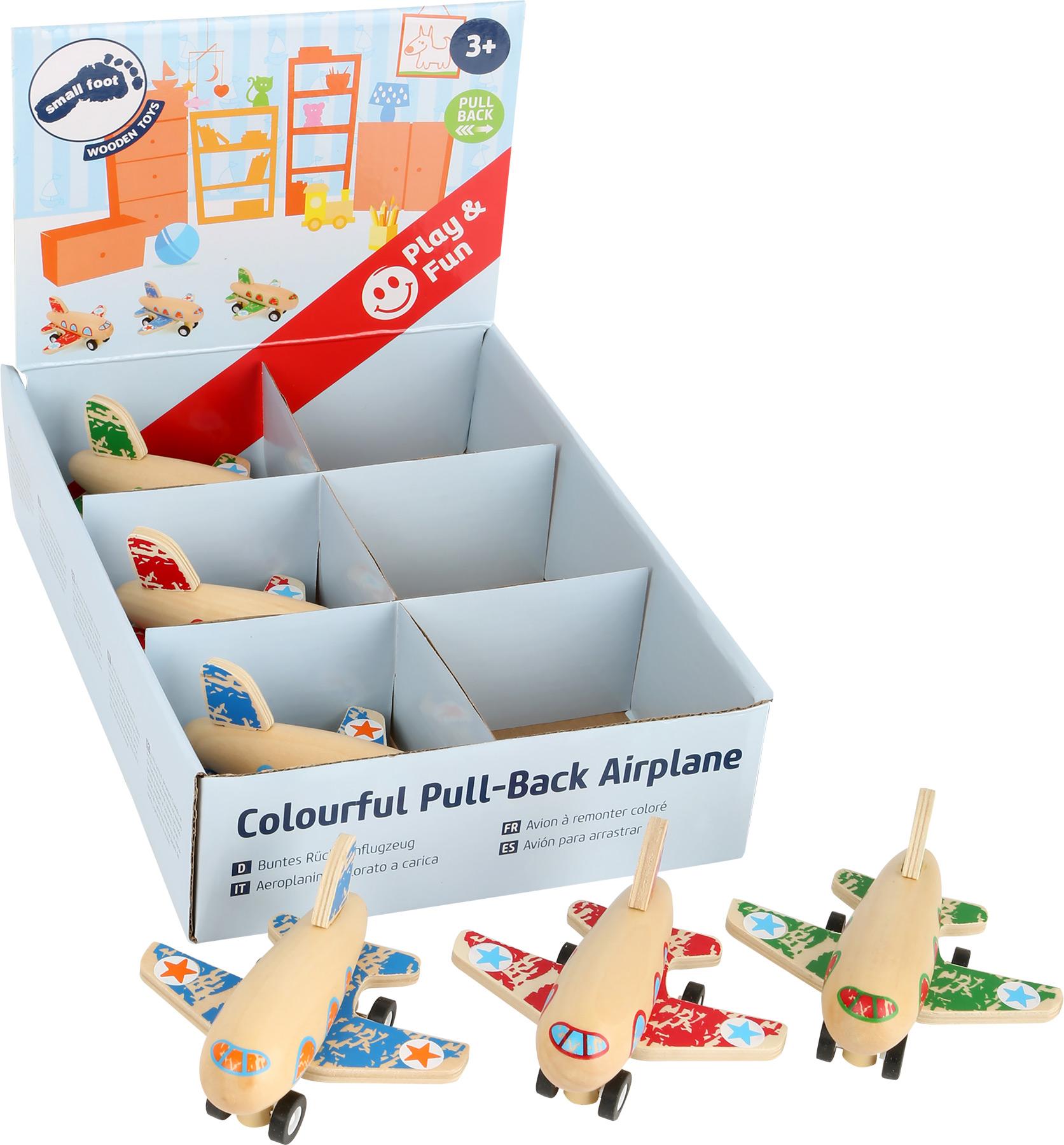 Small Foot Dřevěná natahovací letadla displej 6 ks