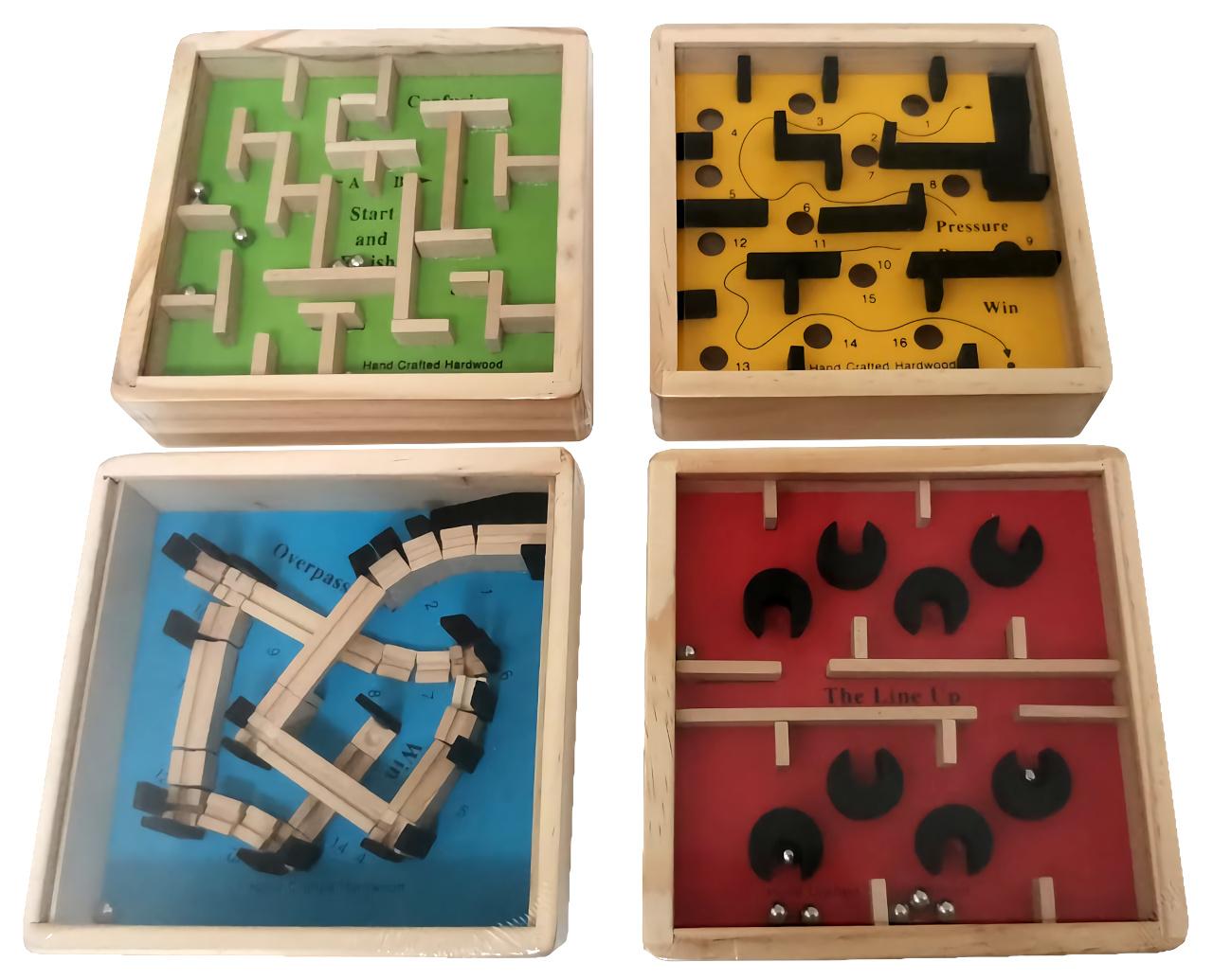 Small Foot Displej dřevěný barevný kuličkový labyrint 12 ks