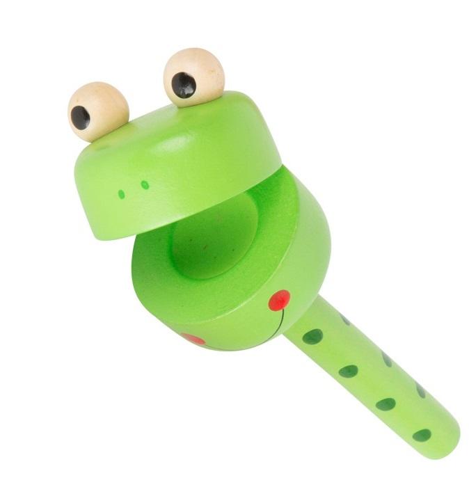 Small Foot Displej dřevěné chrastítko zvířátka 1ks žabka