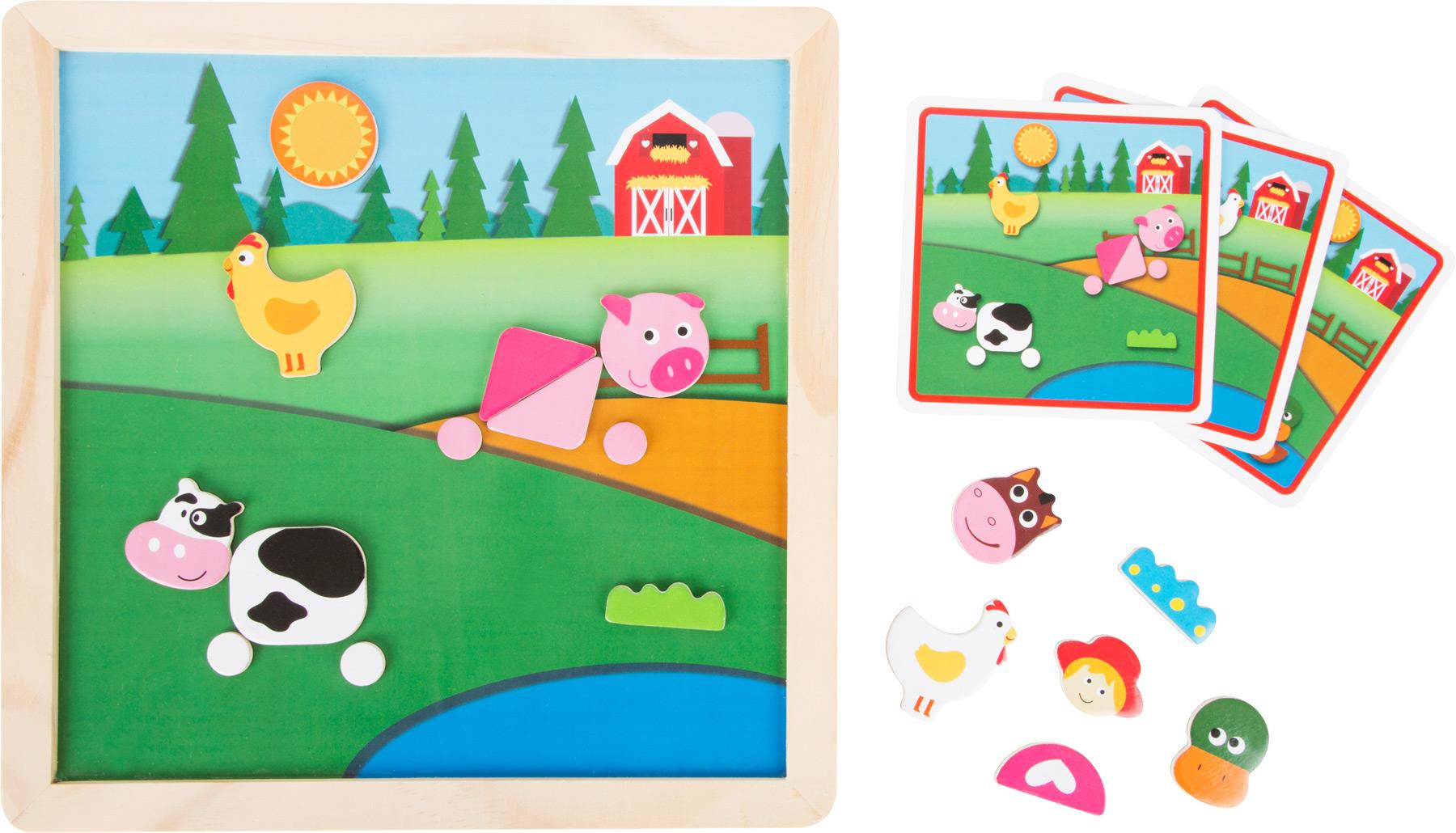 Small Foot Magnetické kreatívne puzzle Na farme
