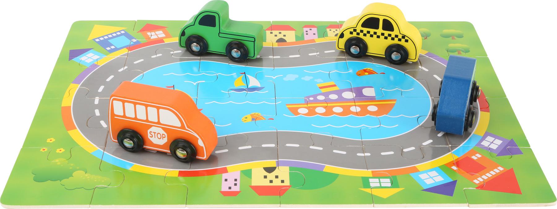 Small Foot Drevené puzzle Doprava s autíčkami 2v1