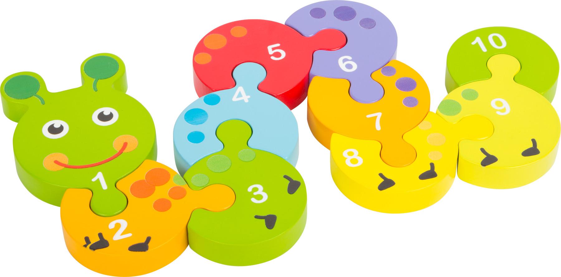 Small Foot Dřevěné puzzle s čísly housenka
