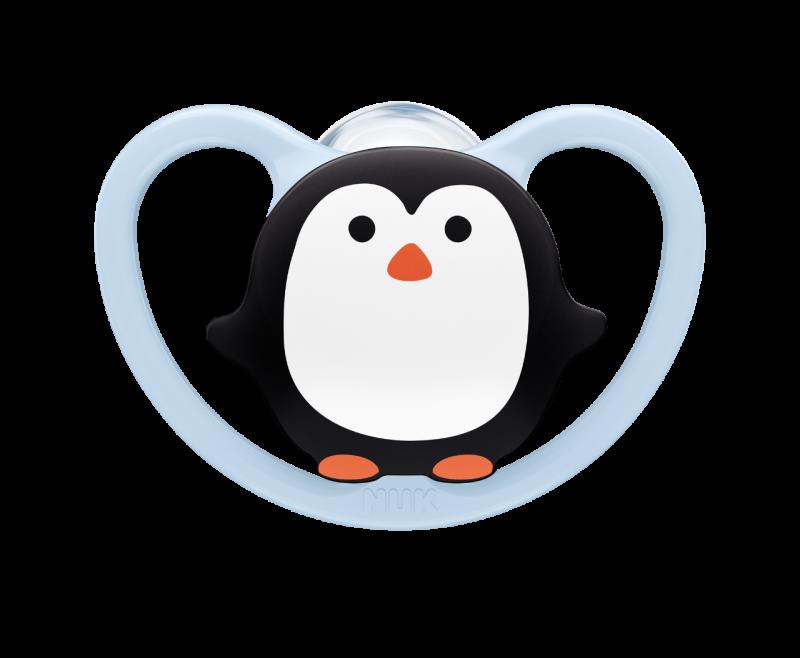 NUK Dudlík silikonový Space V1 (0-6m) 1ks tučňák