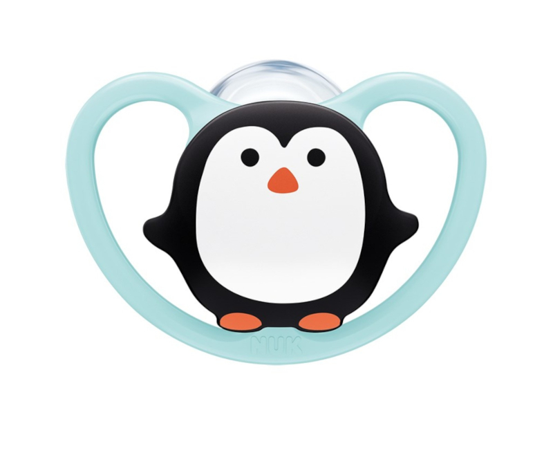 NUK NUK Dudlík Space holka 6-18 měs. tučňák modrá NUK NUK Dudlík Space holka 6-18 měs. tučňák modrá