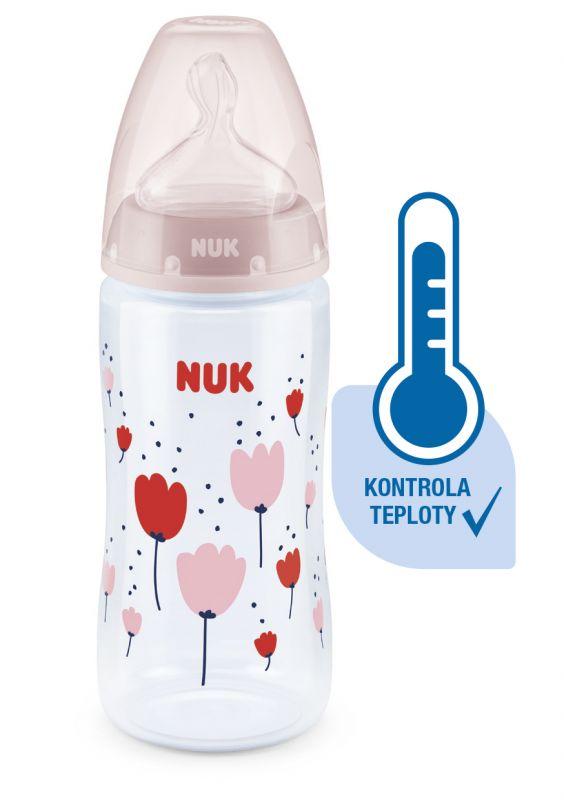 NUK FC Plus láhev s kontrolou teploty 300ml 1ks červená