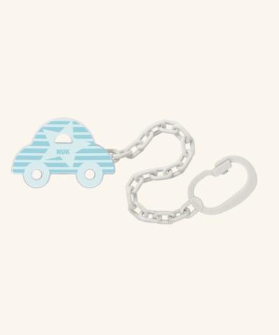 NUK Řetízek na dudlík s klipem 1ks modré autíčko
