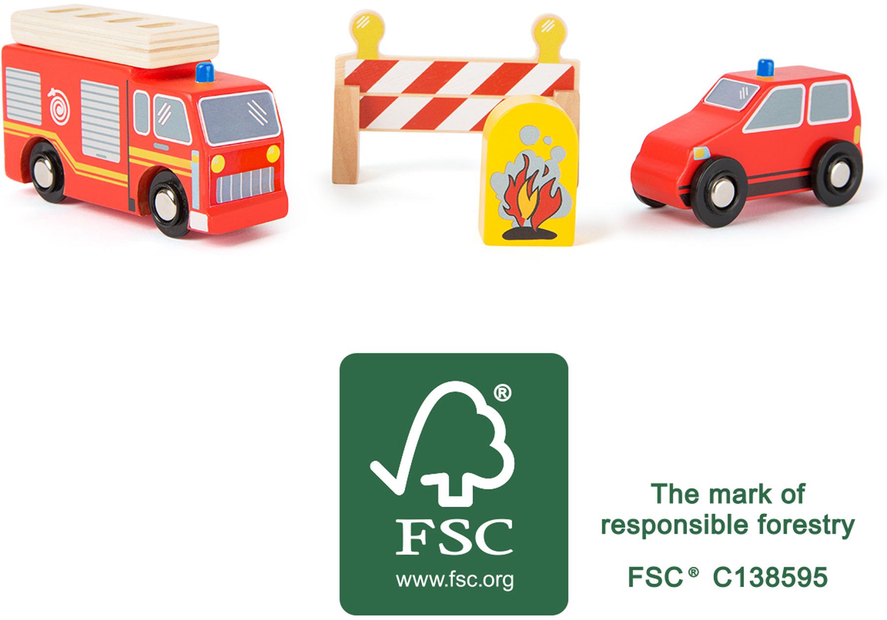 Small Foot Drevené hasičské autá