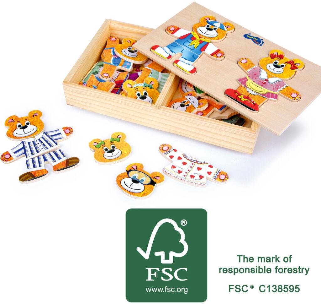 Small Foot Dřevěné oblékací puzzle medvídci