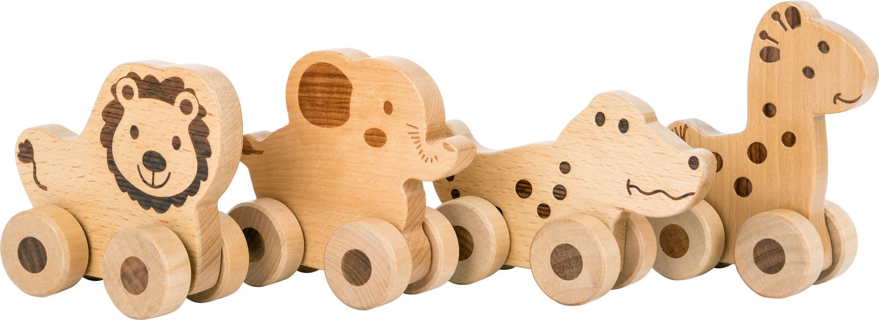 Small Foot Dřevěné zvířátko na kolečkách 1 ks