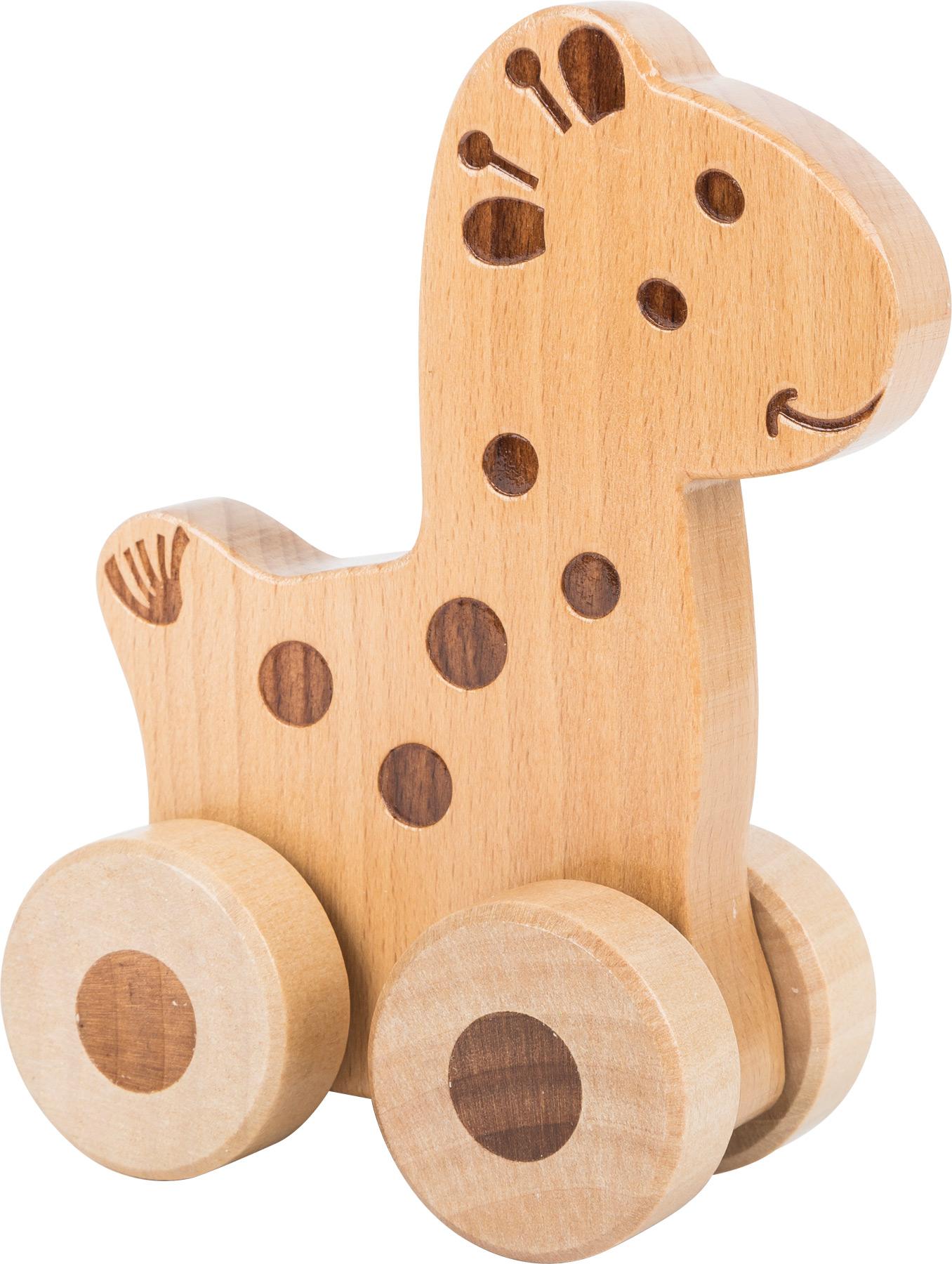 Small Foot Dřevěné zvířátko na kolečkách 1ks žirafa