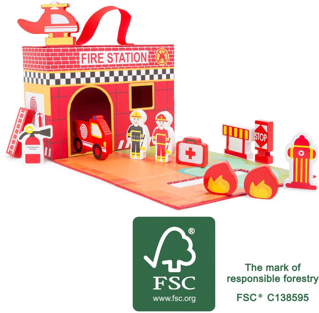 Small Foot Dřevěná hasičská stanice v kufříku