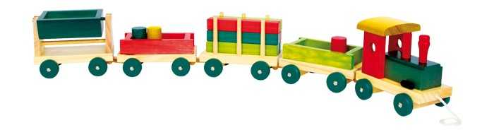 Dřevěné hračky - Dřevěný vláček Emil